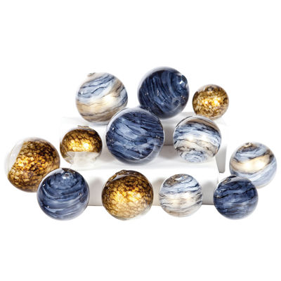 Knox And Harrison 12pc Blue Gold And Gray Spheres Decorative Balls