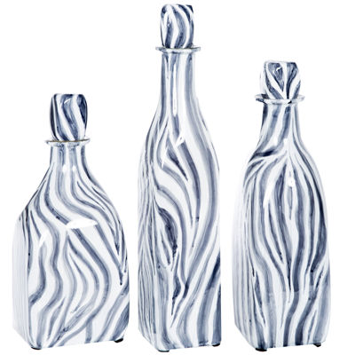"""Knox And Harrison 14"""" Striped Decorative Bottles"""