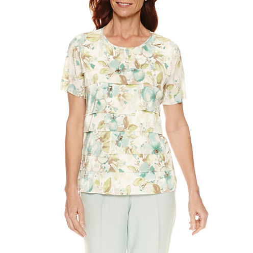 Alfred Dunner Short Sleeve Crew Neck T-Shirt-Womens