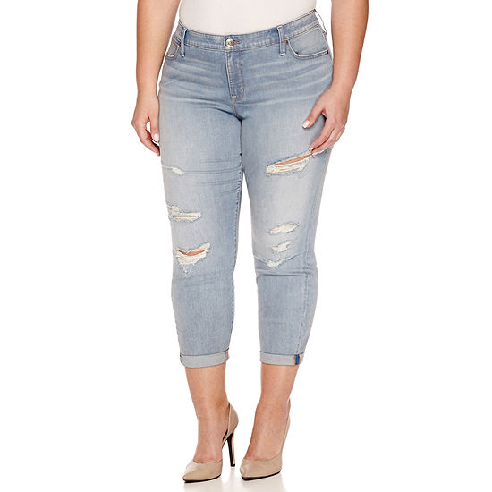 "Boutique + Denim 27"" Ripped Ankle Jeans - Plus"