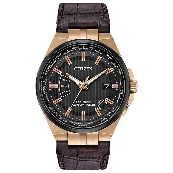 Citizen World Perpetual A-T Mens Brown Strap Watch-Cb0168-08e