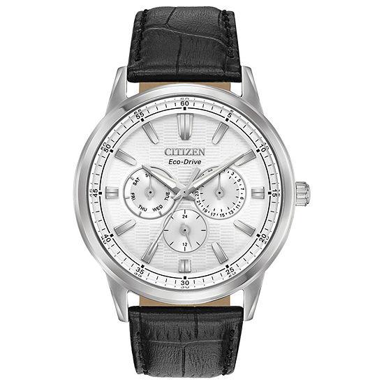 Citizen Corso Mens Black Leather Strap Watch-Bu2070-04a
