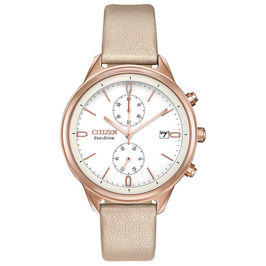 Citizen Chandler Womens Pink Leather Strap Watch-Fb2003-05a