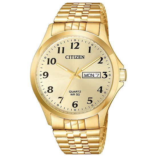 Citizen Quartz Mens Gold Tone Stainless Steel Expansion Watch-Bf5002-99p