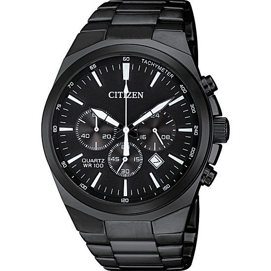 Citizen Quartz Mens Black Stainless Steel Bracelet Watch-An8175-55e