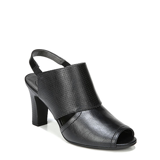 Lifestride Womens Cambria Pumps Peep Toe Stacked Heel