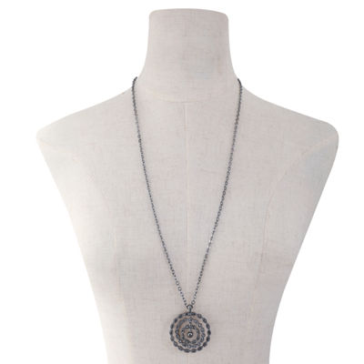 Liz Claiborne Womens Gray Round Pendant Necklace