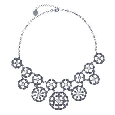 Liz Claiborne Womens Gray Round Statement Necklace