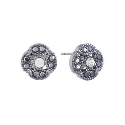 Liz Claiborne Gray 11mm Round Stud Earrings