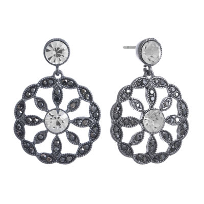 Liz Claiborne Gray Round Drop Earrings