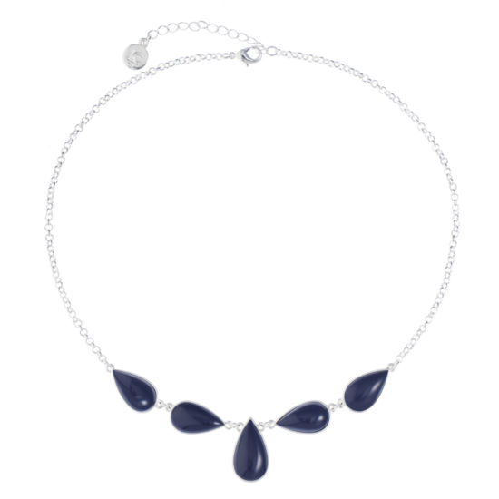 Liz Claiborne Womens Blue Pear Collar Necklace