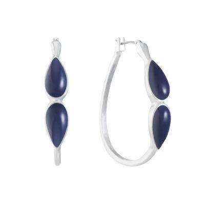 Liz Claiborne Blue 41mm Hoop Earrings