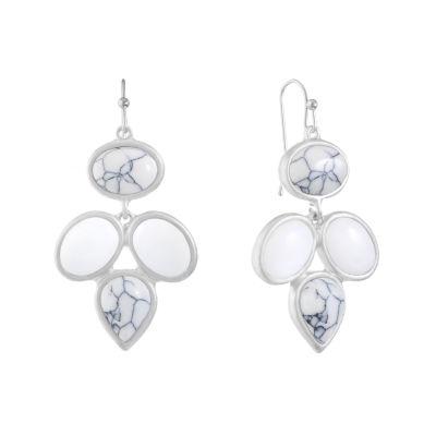 Liz Claiborne White Chandelier Earrings