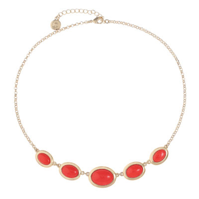 Liz Claiborne Womens Orange Oval Collar Necklace