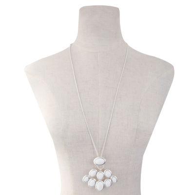 Liz Claiborne Womens White Oval Pendant Necklace