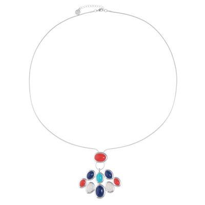Liz Claiborne Womens Multi Color Oval Pendant Necklace