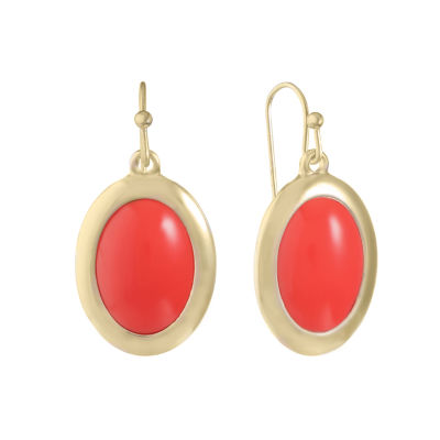 Liz Claiborne Orange Oval Drop Earrings