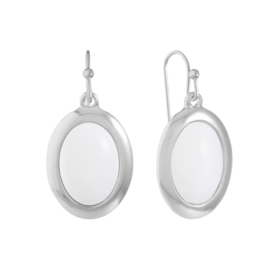 Liz Claiborne White Oval Drop Earrings