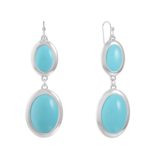Liz Claiborne Blue Oval Drop Earrings