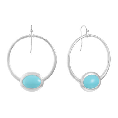 Liz Claiborne Blue 53mm Oval Hoop Earrings