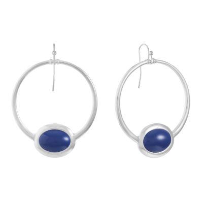 Liz Claiborne Blue 53mm Oval Hoop Earrings