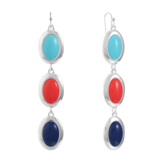 Liz Claiborne Multi Color Oval Drop Earrings