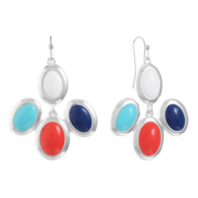 Liz Claiborne Multi Color Oval Chandelier Earrings