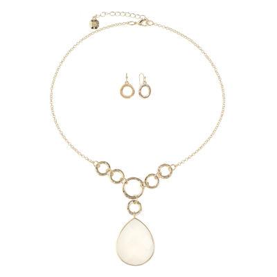 Monet Jewelry Womens White Gold Tone 2-pc. Jewelry Set