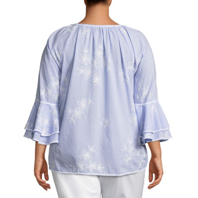 3/4 Tiered Sleeve Embroidered Blouse - Plus