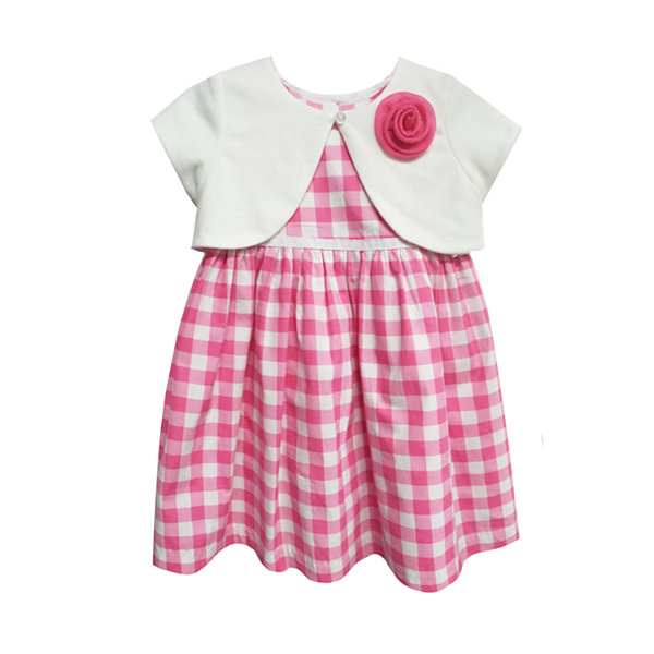 Happy Fella Gingham Short Sleeve A Line Dress Baby Girls
