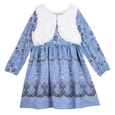 Marmellata Border Long Sleeve Print With Faux Fur Vest Dress - Baby Girls
