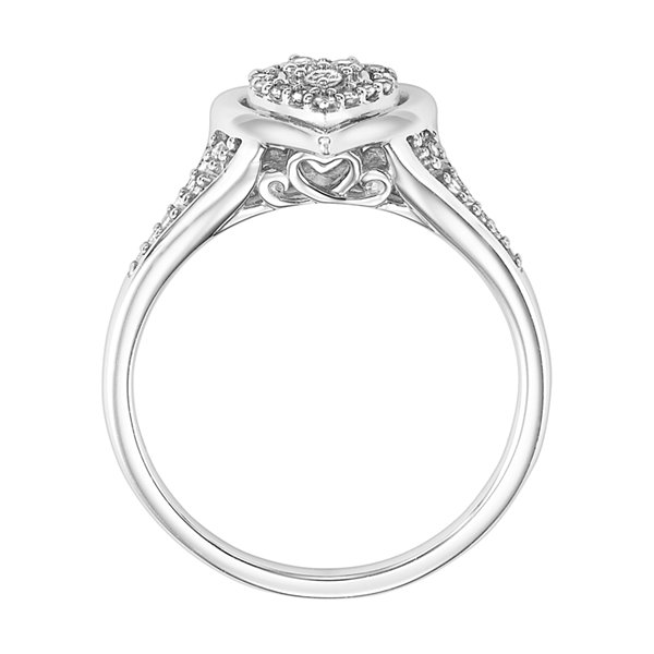 Womens 1/6 CT. T.W. Round White Diamond Sterling Silver Engagement Ring