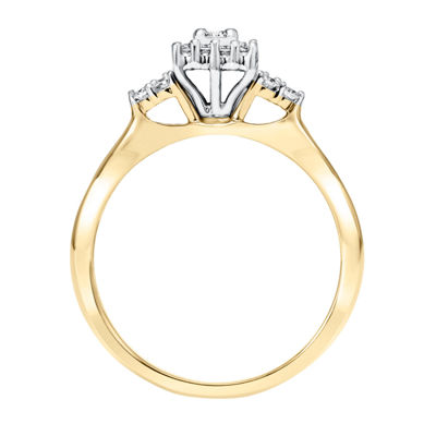 Womens 1/4 CT. T.W. Genuine White Diamond 10K Two Tone Gold Engagement Ring