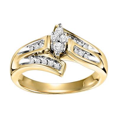 Womens 1/4 CT. T.W. Genuine Round White Diamond 10K Gold Bypass Ring