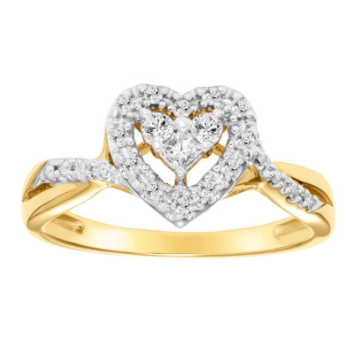 Womens 1/4 CT. T.W. Genuine White Diamond 10K Gold Heart Engagement Ring