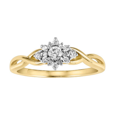 Womens 1/4 CT. T.W. Genuine White Diamond 10K Gold Flower Engagement Ring