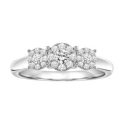 Womens 3/8 CT. T.W. Round White Diamond Sterling Silver 3-Stone Ring