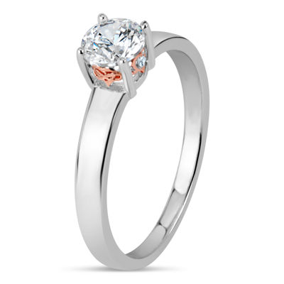 Sterling Silver and 18K Rose Gold Over Silver 1 CT. T.W. Solitaire Ring - Featuring Swarovski Zirconia