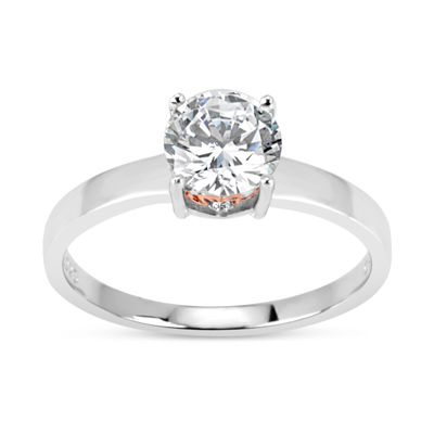 Sterling Silver and 18K Rose Gold Over Silver 1 3/4 CT. T.W. Solitaire Ring - Featuring Swarovski Zirconia