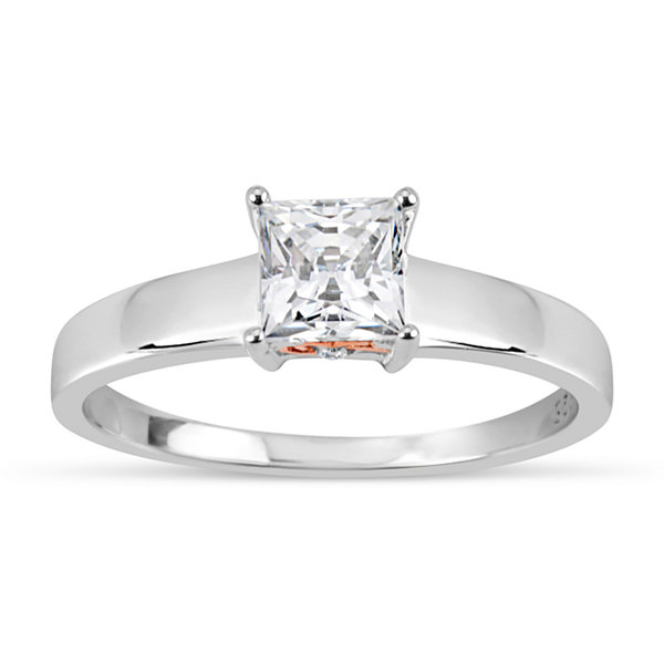 Sterling Silver 18k Rose Gold Over Silver Princess Cut 1 1/7 Ct. T.W. Solitaire Ring - Featuring Swarovski Zirconia