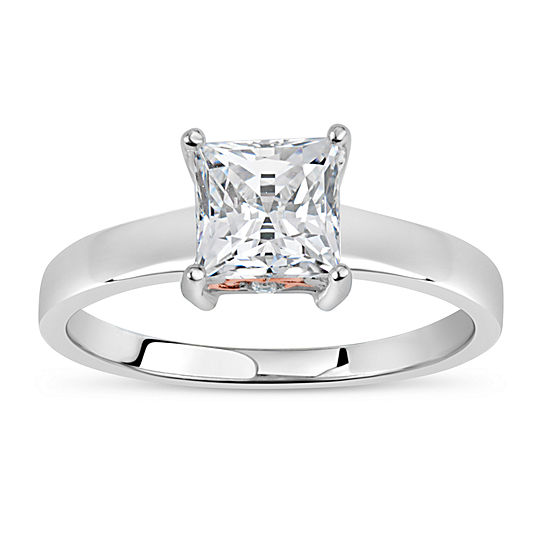 Sterling Silver 18k Rose Gold Over Silver Princess Cut 2 Ct Tw Solitaire Ring Featuring Swarovski Zirconia