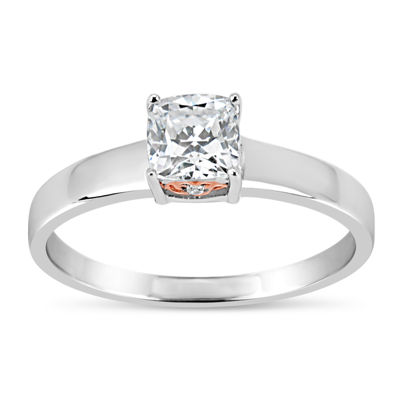 Sterling Silver 18k Rose Gold Over Silver Cushion Cut 1 1/7 Ct. T.W. Solitaire Ring - Featuring Swarovski Zirconia