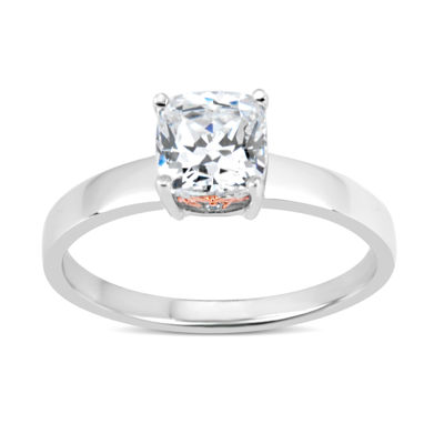 Sterling Silver & 18k Rose Gold Over Silver Cushion Cut 2 CT. T.W. Solitaire Ring - Featuring Swarovski Zirconia