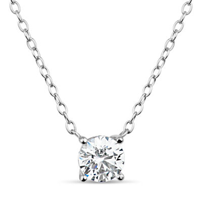 Sterling Silver & 18k Rose Gold over Silver 1 CT. T.W. Solitaire Necklace - Featuring Swarovski Zirconia