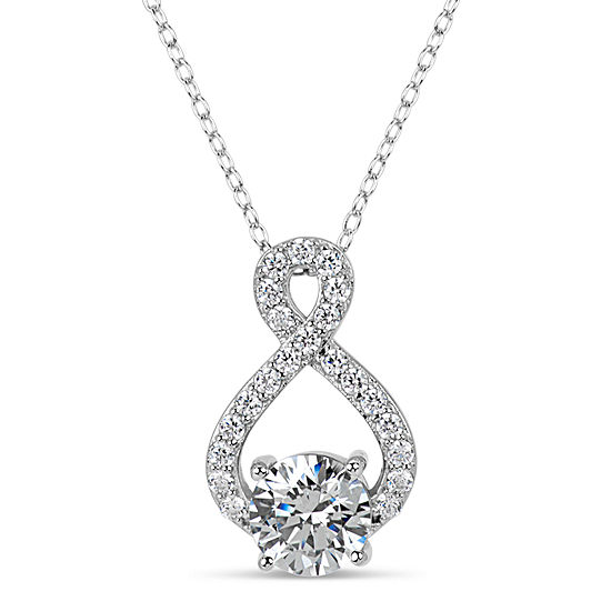 Sterling Silver & 18k Rose Gold over Silver 3 CT. T.W. Infinity Necklace - Featuring Swarovski Zirconia