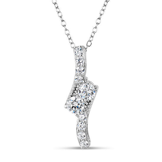 Sterling Silver & 18K Rose Gold over Silver 1 1/3 CT. T.W. Necklace - Featuring Swarovski Zirconia