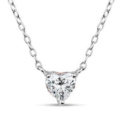 Swarovski Womens 1 CT. T.W. White Zirconia Sterling Silver Heart Pendant Necklace