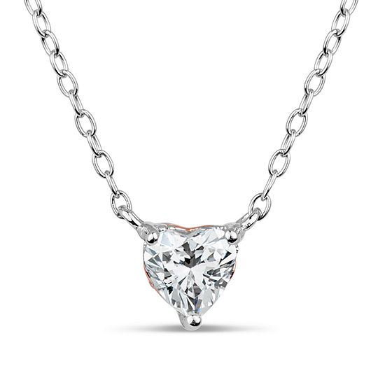 Sterling Silver Heart Pendant Necklace featuring Swarovski Zirconia