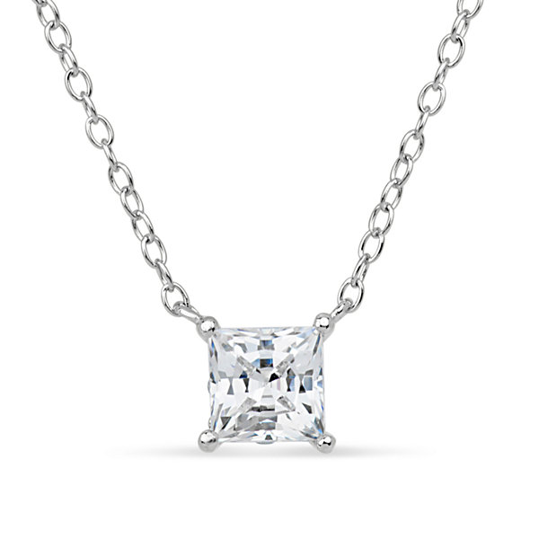 Sterling silver 18k rose gold over silver princess cut 1 ct sterling silver 18k rose gold over silver princess cut 1 ct tw solitaire necklace mozeypictures Image collections