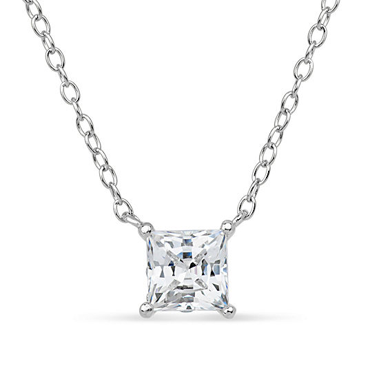 Sterling Silver & 18K Rose Gold over Silver Princess Cut 1 CT. T.W. Solitaire Necklace - Featuring Swarovski Zirconia